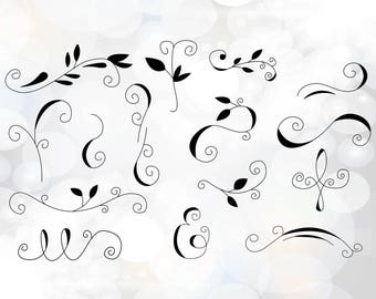 Swirls svg - Vines clipart - Svg, png, dxf, eps, pdf files for invitations - Vine decorations - Instant download files for Cricut