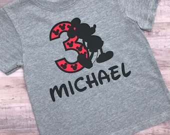 Personalized Mickey Mouse Birthday Shirt - Boys Birthday Shirt - Infant, Toddler, and Youth Sizes