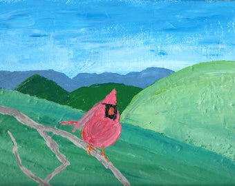Colorful Folk Art Painting on Canvas 12 x 9""