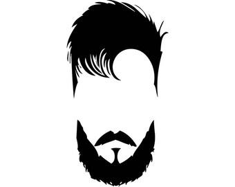 Hairstyle #25 Hairstylist Salon Barber Shop Haircut Hair Style Cut Beard Man Male Face Fashion Logo .SVG .EPS .PNG Vector Cricut Cut Cutting