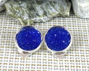 Blue Druzy Clip On Earrings - Druzy - Non Pierced Ears - Clip Ons - Earrings - Clip On Earrings - No Pierce Earrings - Druzy Jewelry - Blue