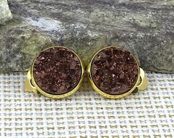 Rust Druzy Clip On Earrings - Druzy - Clip On Earrings - Non Pierced Ears - Earrings Clip On - Druzy Earrings - Drusy - Druzy Jewelry - Rust