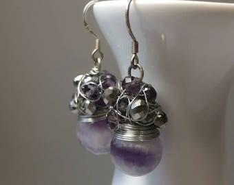 Amethyst Earrings, Beaded Drop Earrings,Wire Wrapped Earrings, Amethyst Jewelery, Gemstone Earrings