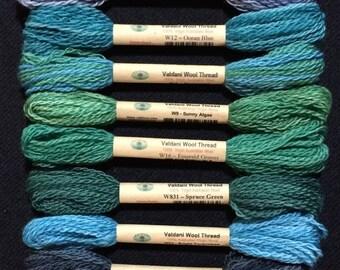 Valdani wool thread collection, Roaring Ocean, size 8 , collection 12 beautiful wool threads