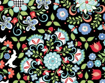 1 yard Black Medallions from Contempt Folk Art Fantasy line by Amanda Murphy Designs
