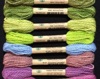 Valdani wool thread collection, Hint of Spring, size 15, hand dyed wool threads, embroidery, applique