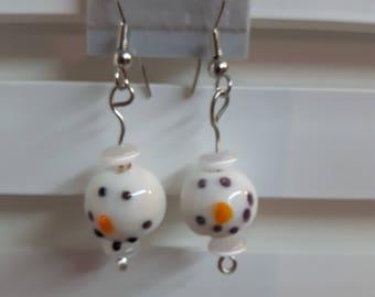 Earrings, Snowman earrings, gift earrings, christmas earrings, snowman, gift, christmas, drop earrings, dangle earrings, holiday earrings
