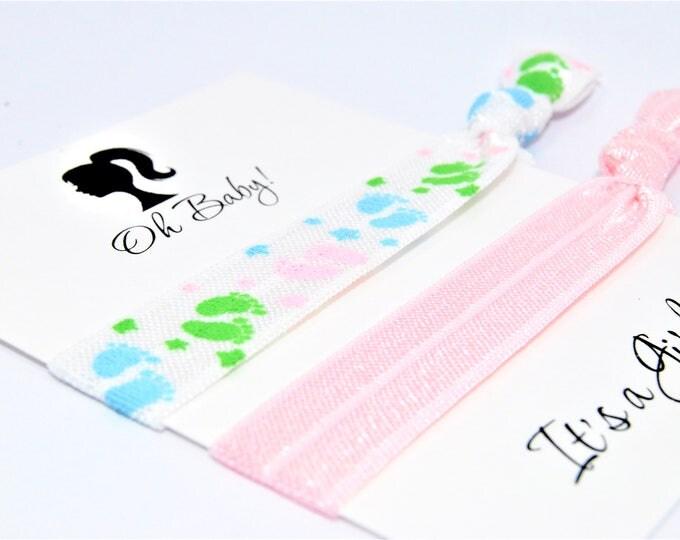 Baby Shower Favors Hair Ties, It's a Girl, Elastic Hair Ties, Baby Pink, Handmade Ponytail Holders, Baby Footprints Hair Ties, Party Favors