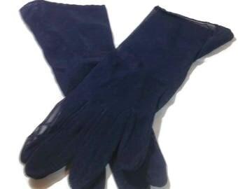 Vintage Navy Blue Nylon Maidwell Gloves