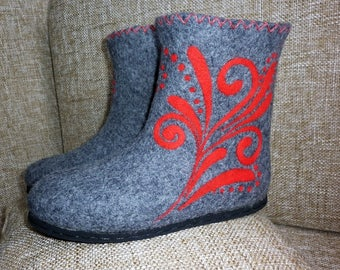 Felted Boots Women Winter Shoes Snow Valenki Short Wool Gray with Bright Abstraction Flowers Ukrainian Handmade Gift for Her Hipster style