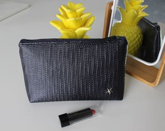 Navy Blue faux leather pouch