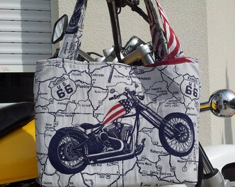 Vroom Vroom Tote can be worn doubled US 66 printed shoulder closes with zipper