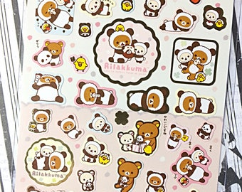 San-X Rilakkuma sticker sheet - kawaii sticker sheet - kawaii stickers - panda