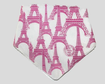 Baby Bandana Bib Eiffel Tower Pink/White