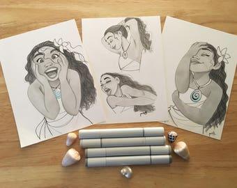 Disney Moana Original Art Print