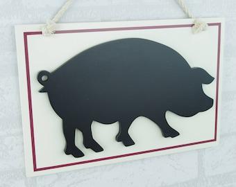 Pig Chalkboard Memo Board Home Kitchen Decor Black Cream 30cm Blackboard RW9104