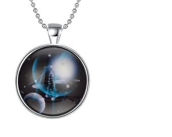 Silver Luminous Punk Libra Glow In The Dark Pendant & Necklace set