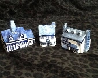 INSTANT COLLECTION Blue and White Mini Houses Set of 3 Ceramic Miniature Buildings
