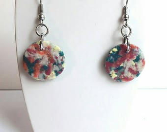 Colorful, handmade, designer jewelery beads dangling earrings