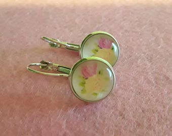 Lever back earrings silver and 12 mm cabochon