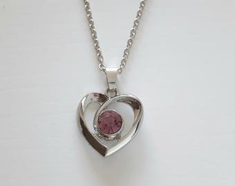 Silver chain and heart pendant