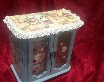 Musical Jewelry box,jewellery cabinet,shabby chic jewellery box, large vintage,chest drawers,butterfly box,paris,vintage music paper,lace