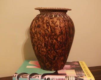 Vintage Hand Painted Ceramic - Woven Flower Vase