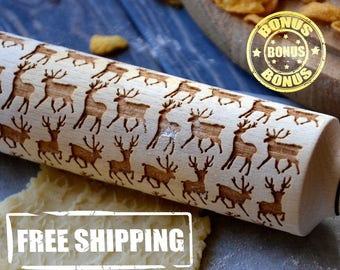 Deluxe Embossing Rolling Pin 4 Size Deers Wild Animals Laser Engraved Pattern Cakes Wooden rolling pin Engraved pattern Handmade gift Baking