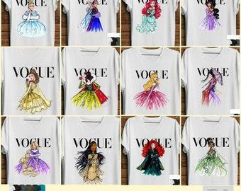 Women's Disney Vogue Princess Shirt. Disney Parody Shirt.  Ladie's Vogue Disney Princess Shirt. Mommy & Me Disney Vogue Shirts. Belle Vogue