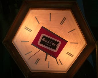 carling black label beer clock 1967