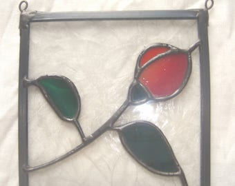 Stained Glass Red rosebud panel
