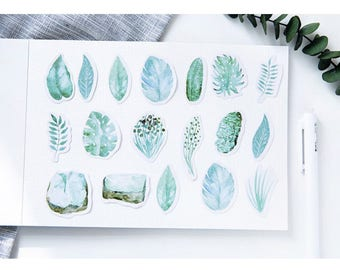 45 Pieces Green Leaves Stickers - Planner, Journal, Craft, Scrapbooking, Decoration