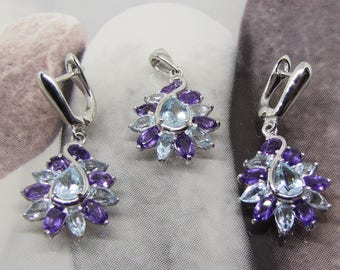 Elegant set made with natural Blue Topaz and Amethyst silver