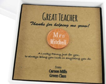 Personalised Thank You Teacher Lucky Penny Coin Keepsake Gift, School Gift,  Lucky Penny Gift
