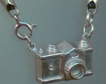 Mini Camera Silver Pendant