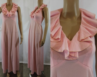 70s vintage bubblegum pink polyester halter maxi dress size Small