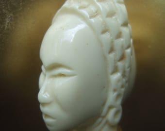 Avant Garde Carved Resin Figural Head Pendant Necklace c 1970