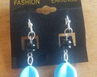 Blue & Black dangle earrings