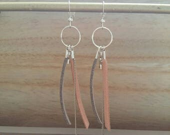 leather suede skin and gray on silver plated earrings