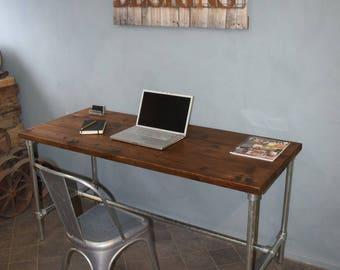 Modern Industrial Desk, Reclaimed Scaffold Board and Galvanised Steel