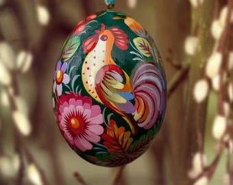 Easter wooden Egg with Rooster green, Petrykivka painting