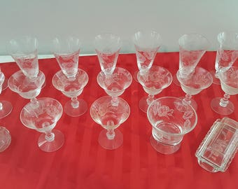 Lot of 19 Vintage Crystal Clear Glass Etched Water Glasses/Wine Glasses/Butter Dish/Cruet/Candy Dish
