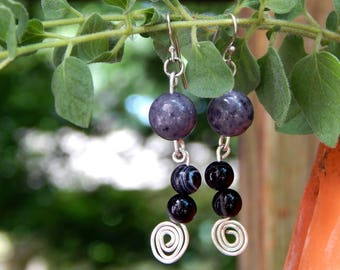 Gray Jade and Black Agate Silver Spiral Earrings