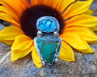 SALE* Moss Agate and Picture Jasper Sterling Silver Statement Ring
