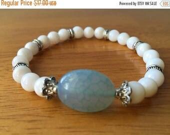 ON SALE Beaded Stretch Bracelet, Shell Bracelet, Beach Bracelet, Beach Jewelry, Boho Bracelet, Stretch Bracelet, Stacking Bracelet,