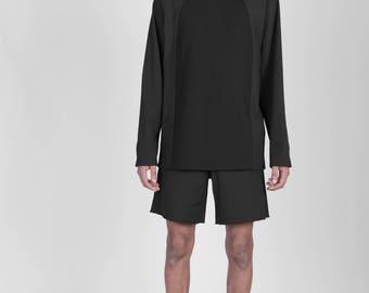 Dark Style Black Oversized Unisex Genderless Pullover with high collar and raglan sleeve, postapocalyptic dark futuristic style fashion