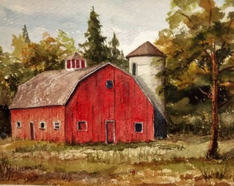 Print of Original Watercolor Painting, Red Barn, Weathered Barn, Farm, New England Landscape Watercolor, Rural Landscape, Old Barn