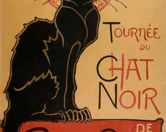 French 1896 Le Chat Noir Black Cat Vintage Retro Advertisment Poster Art Print Picture A3 A4