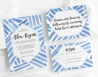 Blue Watercolor Wedding Invitation Suite, Geometric Wedding Invitation Suite, Light Blue Watercolor Wedding Invitation Suite,Blue Watercolor