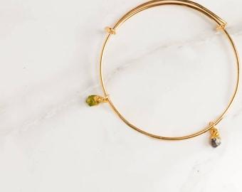 Two Gemstone Bracelet, Best Friend Gift, Friendship Bracelet, Gift for Mom, Gift for Wife, Delicate Bracelet, Stretch, Gift for Girlfriend,